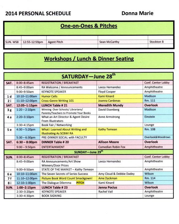 2014 NJSCBWI Conf. Personal Schedule via WriterSideUp.com
